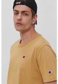 Champion - T-shirt. Okazja: na co dzień. Kolor: beżowy. Materiał: dzianina. Wzór: gładki. Styl: casual