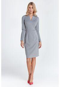 Nife - Sukienka z Dekoltem w Szpic - Szara. Kolor: szary. Materiał: wiskoza, nylon, poliester