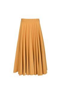 VEVA - Rozkloszowana spódnica midi z koła Foggy musztarda. Okazja: do pracy. Kolor: żółty. Materiał: jeans. Długość: krótkie. Wzór: melanż. Sezon: jesień, zima