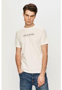 Biały t-shirt Premium by Jack&Jones casualowy, na co dzień, z nadrukiem