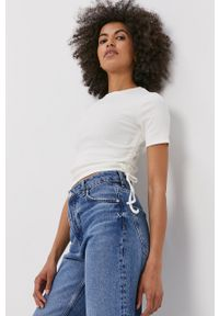 Haily's - T-shirt. Kolor: biały. Materiał: dzianina