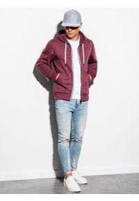 Ombre Clothing - Bluza męska rozpinana z kapturem B977 - bordowa V - XXL. Typ kołnierza: kaptur. Kolor: czerwony. Materiał: poliester, bawełna. Styl: klasyczny