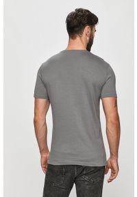 Szary t-shirt Trussardi Jeans z nadrukiem, z okrągłym kołnierzem, casualowy
