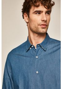 Niebieska koszula medicine retro, długa, na co dzień, button down