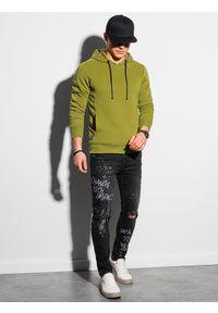 Ombre Clothing - Bluza męska z kapturem B1155 - oliwkowa - XXL. Typ kołnierza: kaptur. Kolor: oliwkowy. Materiał: dresówka, bawełna, jeans, dzianina, poliester