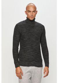 Szary sweter Premium by Jack&Jones casualowy, na co dzień, z golfem