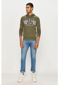 Zielona bluza nierozpinana PRODUKT by Jack & Jones na co dzień, z kapturem, casualowa, z nadrukiem #5
