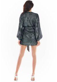 Awama - Cekinowa wieczorowa sukienka o luźnym fasonie oversize. Materiał: poliester, elastan, dzianina, materiał. Typ sukienki: oversize. Styl: wizytowy