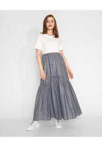 CAPPELLINI - Dwukolorowa sukienka maxi. Kolor: szary. Materiał: materiał. Długość: maxi