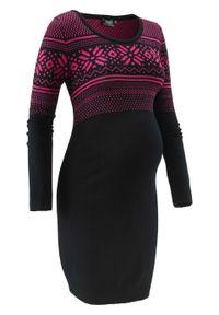 Sukienka dzianinowa z norweskim wzorem bonprix czarno-ciemnoróżowy wzorzysty. Kolekcja: moda ciążowa. Kolor: czarny. Materiał: wiskoza, dzianina, materiał, poliamid. Wzór: prążki, aplikacja