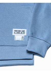 Ombre Clothing - Bluza męska z kapturem B1084 - błękitna - XL. Typ kołnierza: kaptur. Kolor: niebieski. Materiał: poliester, bawełna