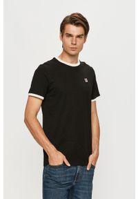 Czarny t-shirt Fila z okrągłym kołnierzem, z aplikacjami, na co dzień, casualowy
