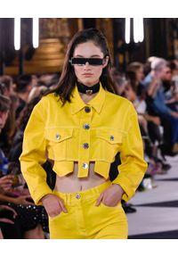 Balmain - BALMAIN - Krótka jeansowa kurtka. Kolor: żółty. Materiał: jeans. Długość rękawa: długi rękaw. Długość: krótkie. Sezon: lato