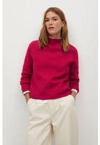 Różowy sweter mango z golfem, długi, z długim rękawem