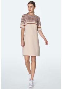 Nife - Prosta Sukienka z Górą w Kratkę - Beżowa. Kolor: beżowy. Materiał: wiskoza, nylon, poliester. Wzór: kratka. Typ sukienki: proste