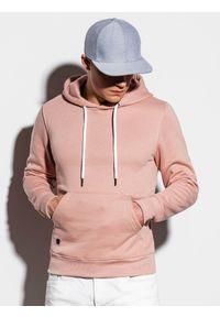 Ombre Clothing - Bluza męska z kapturem B979 - beżowa - XXL. Typ kołnierza: kaptur. Kolor: beżowy. Materiał: bawełna, poliester. Styl: klasyczny