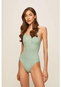 Zielony strój kąpielowy Roxy z odpinanymi ramiączkami, z nadrukiem