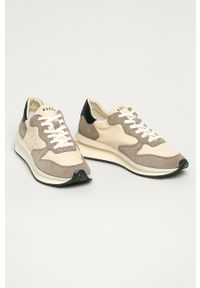 Kremowe sneakersy Guess z cholewką, na sznurówki, do biegania