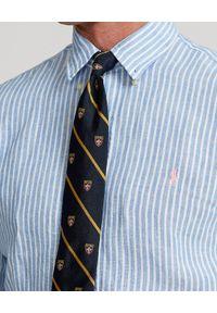 Ralph Lauren - RALPH LAUREN - Niebieska koszula z lnu Custom Fit. Typ kołnierza: polo. Kolor: niebieski. Materiał: len. Długość rękawa: długi rękaw. Długość: długie. Wzór: haft, prążki. Styl: klasyczny #2