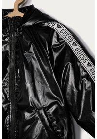 Czarna kurtka Guess Jeans casualowa, z kapturem, na co dzień