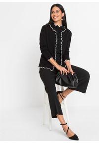 Sweter rozpinany bonprix czarno-biały. Kolor: czarny