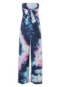 Kombinezon bandeau bonprix ciemnoniebiesko-turkusowo-różowy z nadrukiem. Kolor: niebieski. Wzór: nadruk