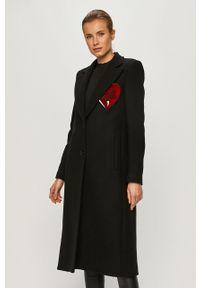 Czarny płaszcz Love Moschino bez kaptura, casualowy, na co dzień