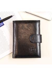 Czarny portfel DAN-A w kolorowe wzory