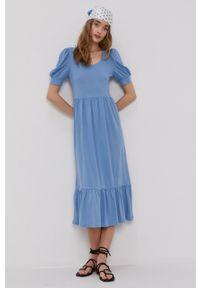 only - Only - Sukienka. Kolor: niebieski. Materiał: bawełna, dzianina. Długość rękawa: krótki rękaw. Wzór: gładki. Typ sukienki: rozkloszowane