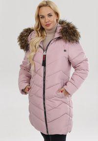 Born2be - Różowa Kurtka Jellybush. Kolekcja: plus size. Kolor: różowy. Materiał: tkanina, futro, jeans. Długość: długie. Styl: klasyczny