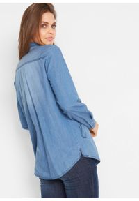 Tunika dżinsowa, długi rękaw bonprix niebieski. Kolor: niebieski. Długość rękawa: długi rękaw. Długość: długie