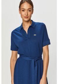 Niebieska sukienka Lacoste casualowa, gładkie, rozkloszowana, midi #5