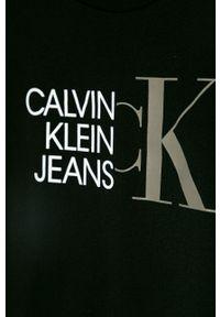 Czarny t-shirt Calvin Klein Jeans casualowy, na co dzień, z nadrukiem