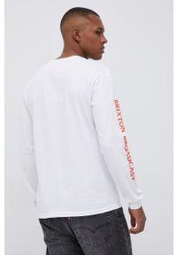 Brixton - Longsleeve bawełniany. Okazja: na co dzień. Kolor: biały. Materiał: bawełna. Długość rękawa: długi rękaw. Wzór: nadruk. Styl: casual