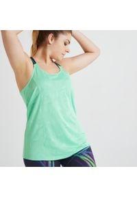 DOMYOS - Top fitness. Kolor: niebieski, zielony, wielokolorowy. Materiał: poliester, materiał. Długość rękawa: na ramiączkach. Sport: fitness