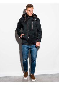 Ombre Clothing - Płaszcz męski z kapturem C200 - czarny - XL. Typ kołnierza: kaptur. Kolor: czarny. Materiał: dzianina, poliester #5