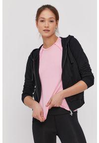 Czarna bluza rozpinana Deha gładkie, z kapturem, casualowa, na co dzień