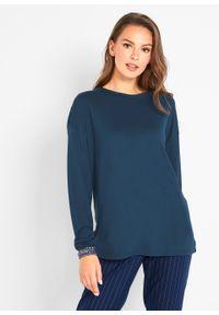 Niebieska bluzka bonprix długa, z golfem, z długim rękawem