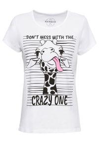 T-shirt z nadrukiem bonprix biały z nadrukiem żyrafy. Kolor: biały. Wzór: nadruk