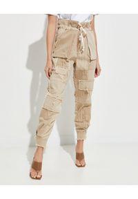 SER.O.YA - Patchworkowe spodnie Nitz. Kolor: beżowy. Materiał: bawełna
