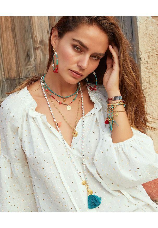 MOKOBELLE - Długi naszyjnik z pereł i kamieni naturalnych z medalionem Laguna i chwostami. Kolor: biały. Wzór: aplikacja, kolorowy. Kamień szlachetny: perła