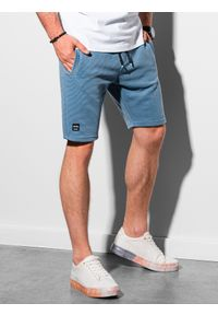 Ombre Clothing - Krótkie spodenki męskie dresowe W294 - niebieskie - XXL. Kolor: niebieski. Materiał: dresówka. Długość: krótkie. Styl: klasyczny, sportowy
