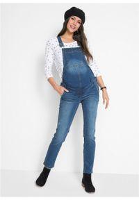 """Ogrodniczki dżinsowe ciążowe STRAIGHT bonprix niebieski """"stone"""". Kolekcja: moda ciążowa. Kolor: niebieski"""
