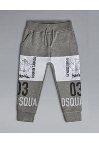 DSQUARED2 KIDS - Szare spodnie z bawełny 0-3 lata. Okazja: na co dzień. Kolor: szary. Materiał: bawełna. Długość: długie. Wzór: nadruk. Sezon: lato. Styl: casual
