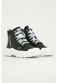 Czarne sneakersy Palladium z cholewką, na sznurówki, z okrągłym noskiem