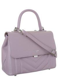 Fioletowa torebka DAVID JONES elegancka, skórzana, gładkie