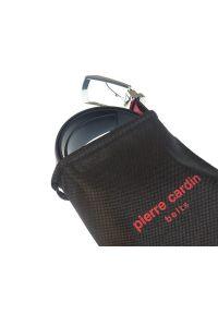 Czarny pasek męski Pierre Cardin z czarną klamrą PC4. Kolor: czarny. Materiał: skóra. Wzór: paski. Styl: elegancki