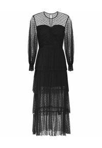 ALICE MCCALL - Czarna sukienka midi Mysteria. Kolor: czarny. Materiał: koronka. Wzór: kropki, aplikacja. Typ sukienki: kopertowe. Styl: klasyczny. Długość: midi
