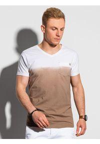 Ombre Clothing - T-shirt męski bawełniany S1380 - brązowy - XXL. Kolor: brązowy. Materiał: bawełna. Sezon: lato