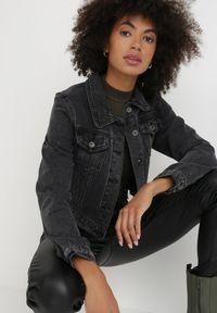 Born2be - Czarna Kurtka Jeansowa Heserine. Kolor: czarny. Materiał: jeans. Długość: długie